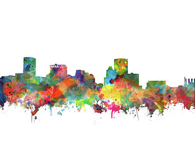 Abstract Skyline Royalty-Free and Rights-Managed Images - Baltimore Skyline Watercolor 3 by Bekim M