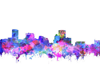 Abstract Skyline Royalty-Free and Rights-Managed Images - Baltimore Skyline Watercolor 4 by Bekim M