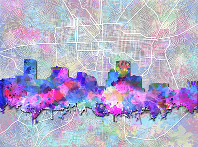 Abstract Skyline Royalty-Free and Rights-Managed Images - Baltimore Skyline Watercolor 6 by Bekim M