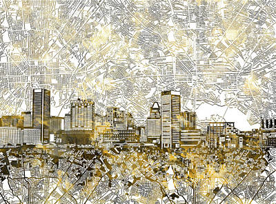 Abstract Skyline Royalty-Free and Rights-Managed Images - Baltimore Skyline Watercolor 8 by Bekim M