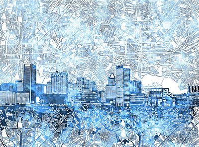 Abstract Skyline Royalty-Free and Rights-Managed Images - Baltimore Skyline Watercolor 9 by Bekim M
