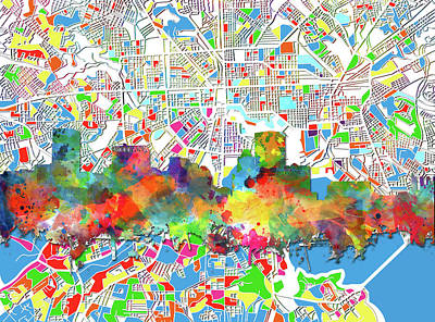 Abstract Skyline Royalty-Free and Rights-Managed Images - Baltimore Skyline Watercolor by Bekim Art