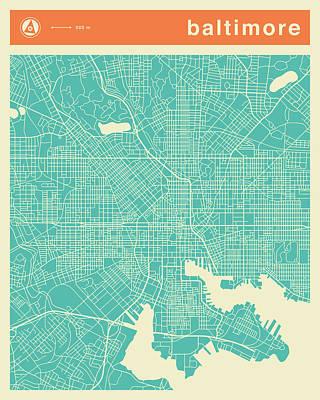 Baltimore Digital Art - Baltimore Street Map by Jazzberry Blue