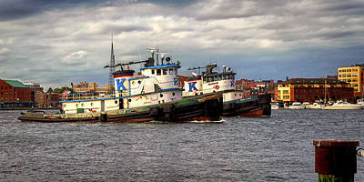 Photograph - Baltimore Tugboats In Tandem by Bill Swartwout