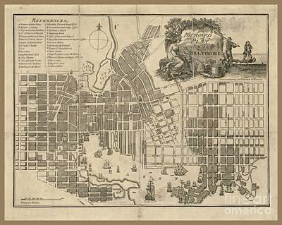 Baltimore Vintage Map Art Print by Pd