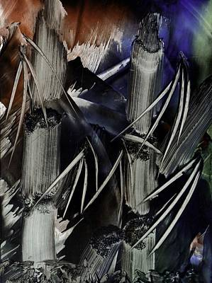 Mixed Media - Bamboo Abstract In Encaustics by Zilpa Van der Gragt