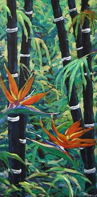 Walter Pranke Painting - Bamboo And Birds Of Paradise by Richard T Pranke