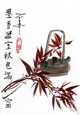 Bamboo And Teapot Print by Linda Smith
