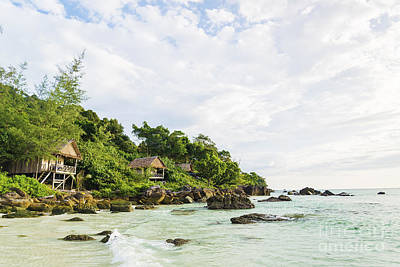 Bamboo And Wood Bungalows In Koh Rong Island Cambodia Art Print by Jacek Malipan
