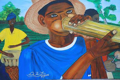 Art Print featuring the painting Bamboo Blower In Haiti Rara Festival by Nicole Jean-Louis