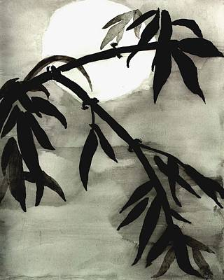 Bamboo In Moonlight - Watercolor Painting Art Print by Merton Allen