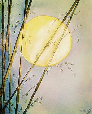 Painting - Bamboo Moon Watercolor Painting by Dee Browning
