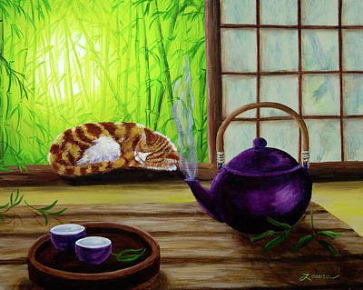 Bamboo Morning Tea Art Print by Laura Iverson