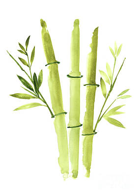 Bamboo Wall Painting - Bamboo Plant Paper Art Print, Bamboo Sticks Painting, Green Leaves Clipart by Joanna Szmerdt