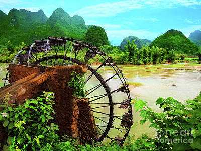 Bamboo Water Wheel Art Print by MotHaiBaPhoto Prints