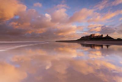 Sand Castle Photograph - Bamburgh Castle Sunset Reflections On The Beach by Anita Nicholson