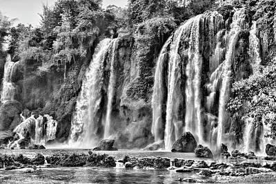 Ban Gioc Waterfalls Black  Art Print by Chuck Kuhn