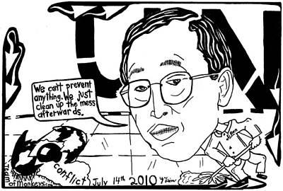Mess Mixed Media - Ban Ki Moon Maze Cartoon Yonatan Frimer by Yonatan Frimer Maze Artist