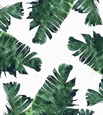 Tropical Digital Art - Banan Leaf Watercolor by Uma Gokhale