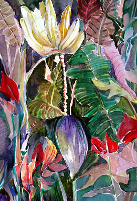 Banana Mixed Media - Banana And Pods by Mindy Newman