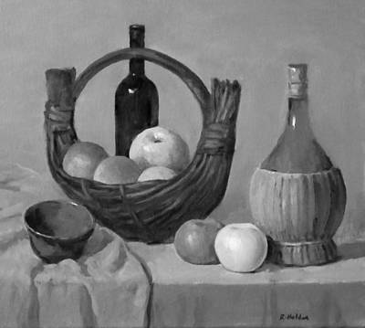 Painting - Banana Boat Wicker Basket, Apples And Wine by Robert Holden