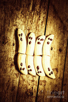 Food And Beverage Royalty-Free and Rights-Managed Images - Banana ghosts looking to split at halloween party by Jorgo Photography - Wall Art Gallery