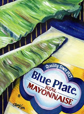 Painting - Banana Leaf Series - Blue Plate Mayo by Terry J Marks Sr