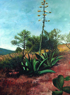 Painting - Banana Plant With Agaves by Maria Rizzo