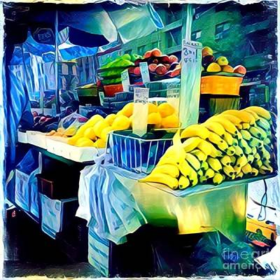 Photograph - Bananas In Yellow And Blue by Miriam Danar