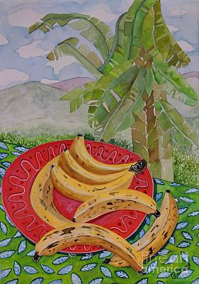 Fruit Tree Art Painting - Bananas On A Plate by Caroline Street