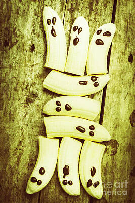 Bananas With Painted Chocolate Faces Art Print