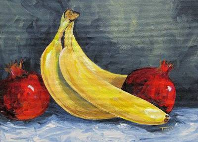Yellow Bananas Painting - Bananas With Pomegranates  by Torrie Smiley