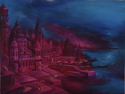 Liberation Painting - Banaras Ghat 3 by Durshit Bhaskar
