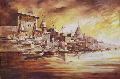 Liberation Painting - Banaras Ghat by Anurag