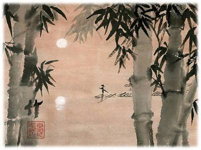 Art Print featuring the painting Banboo Village by Ping Yan