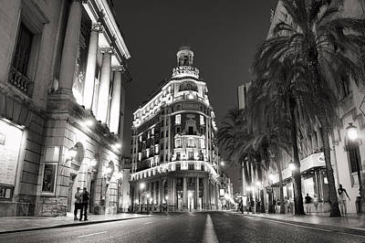 Photograph - Banco De Valencia At Night by For Ninety One Days