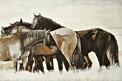 Egg Tempera Painting - Band O' Five - Mustangs by Susie Gordon