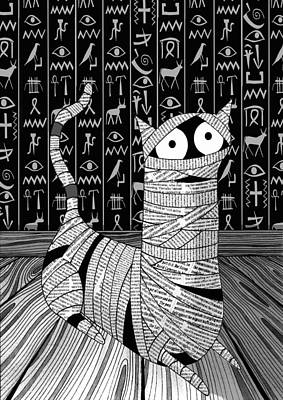 Egyptian Mummy Drawing - Bandages by Andrew Hitchen