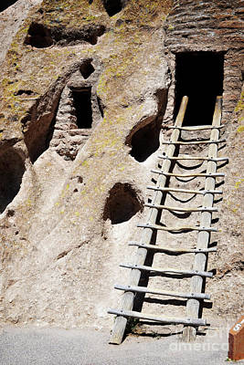 Art Print featuring the photograph Bandelier Desert Ladder by Andrea Hazel Ihlefeld