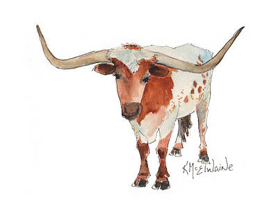 Texas Longhorn Bandero Watercolor Painting By Kmcelwaine Art Print by Kathleen McElwaine