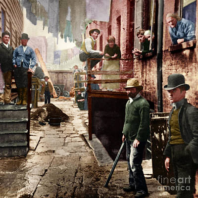 Photograph - Bandit's Roost By Jacob Riis Colorized 20170701 Square by Wingsdomain Art and Photography
