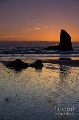 Photograph - Bandon Beach Sea Stack Sunset by Rick Bures