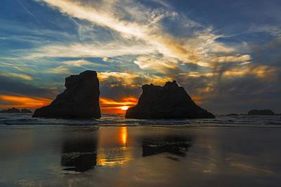 Bandon Beach Sunset In Oregon Usa Art Print
