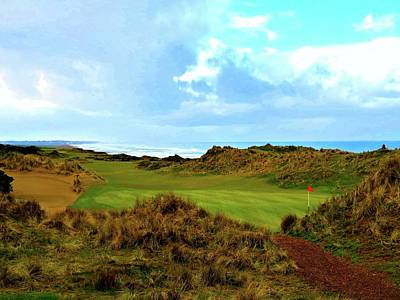 Bandon Dunes - 5th Green Art Print by Scott Carda