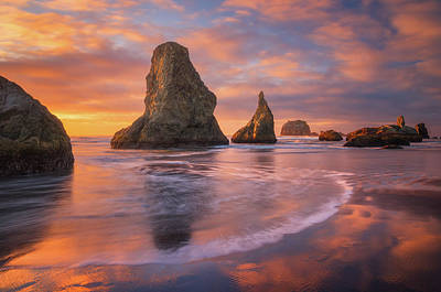 Photograph - Bandon's New Years Eve Light Show by Darren White