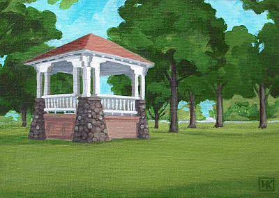 Bandstand Painting - Bandstand At Capron Park by Lisa Kretchman