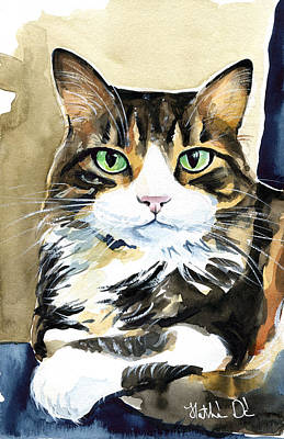 Painting - Bandu - Long Haired Calico Cat Painting by Dora Hathazi Mendes