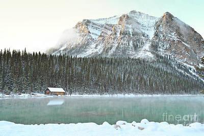 Photograph - Banff Canada Lake Louise Cabin Landscape by Andrea Hazel Ihlefeld
