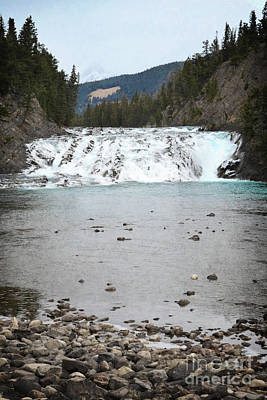 Photograph - Banff Canada Waterfall Mountain Forest Landscape by Andrea Hazel Ihlefeld