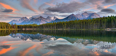 Photograph - Banff Herbert Lake Sunset by Adam Jewell